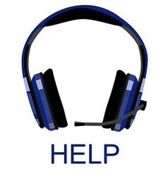 Headphones with text help vector image vector image