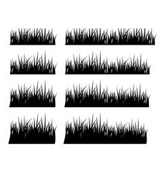 Set of black silhouette grass in different height vector
