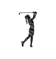 silhouette drawing girl playing golf icon vector image