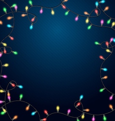 Blue background with realistic garland vector image