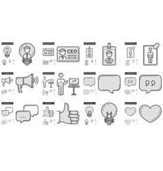 Human resources line icon set vector image vector image