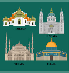 israel hungary turkey and thailand travel icons vector image