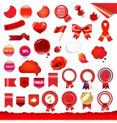 Big Red Labels And Ribbons Set vector image vector image
