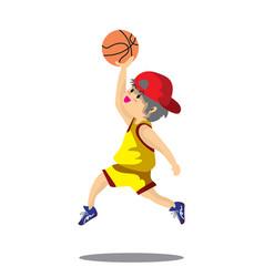 boy play basketball character design cartoon art vector image
