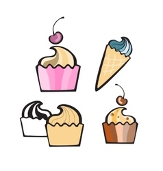 Cupcake isolated on white vector image