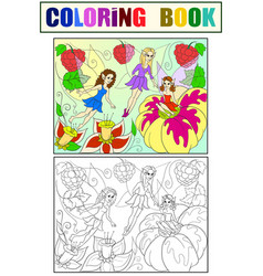 fairy-tale world of fairies coloring book for vector image