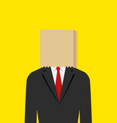 paper bag face businessman vector image