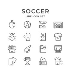 set line icons of soccer vector image