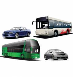 two buses and two cars vector image vector image