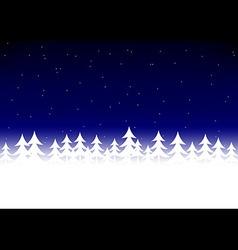 Christmas tree snow dark blue sky vector image