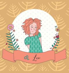 cute horoscope zodiac girl leo vector image