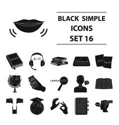 interpreter and translator set icons in black vector image vector image