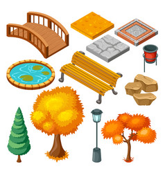 isometric autumn park landscape icons collection vector image