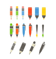 Paint and writing tools collection Flat design vector image vector image