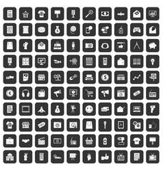 100 marketing icons set black vector