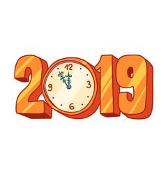 2019 new year clock vector