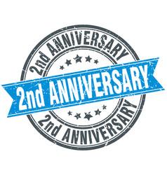 2nd anniversary round grunge ribbon stamp vector image