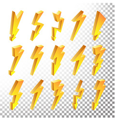 3d lightning icons set cartoon yellow vector image