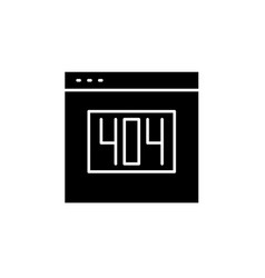 404 error black icon sign on isolated vector image
