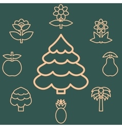 Abstract icons outline of the subjects trees vector