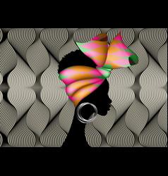 african woman in traditional ankara textile turban vector image