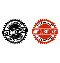 Any questions query black rosette stamp vector