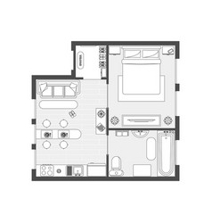 apartment plan witch furniture vector image