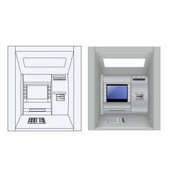atm 3d model and outline drawing vector image