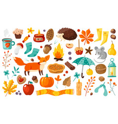 autumn elements yellow falling leaves plants and vector image