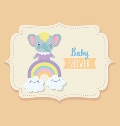 bashower cute elephant on rainbow with clouds vector image