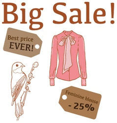 Big Sale with bird feminine blouse vector image