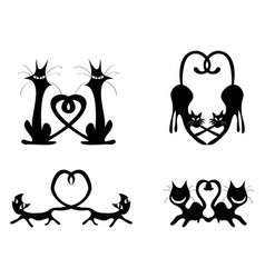 Black love heart cat couples set vector