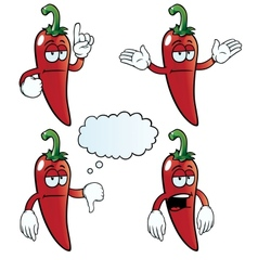 Bored chili pepper set vector image