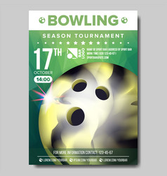 bowling poster sport event announcement vector image