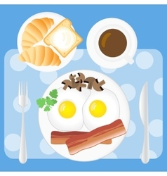 Breakfast poster fried eggs bacon mushrooms vector