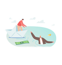 Businesswoman character on paper ship give hand vector
