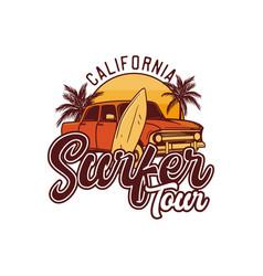 california surfer tour design retro surfing t vector image