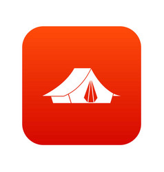 Camping tent icon digital red vector