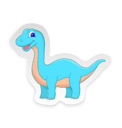 Cartoon diplodocus cute little baby dinosaur vector