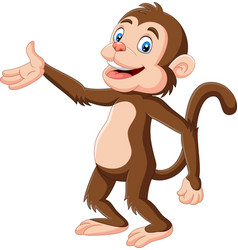 cartoon happy monkey presenting vector image