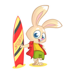 Cartoon rabbit surfer vector