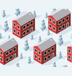 christmas city isometric urban winter quarter in vector image