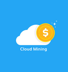 Cloud mining logo like cryptocurrency profit vector