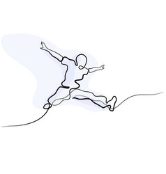 continuous line drawing happy jumping man vector image