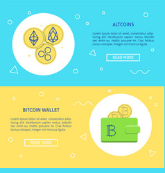 cryptocurrency concept flyer templates with place vector image