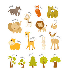 cute animals set forest and african animals vector image