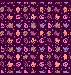 cute halloween pattern background with purple colo vector image