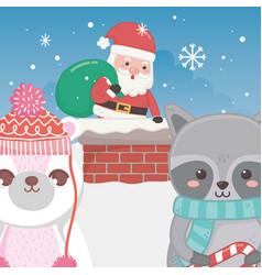 cute santa in chimney raccoon and polar bear merry vector image