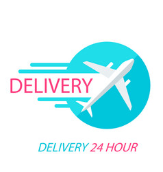 delivery 24 hour flying plane background im vector image