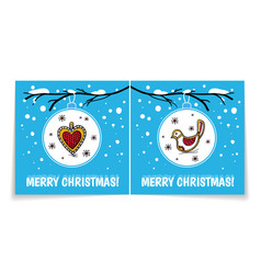 Double sided holiday card with christmas ballbird vector